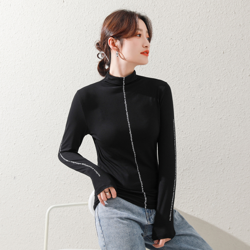 Modal half high collar bottomed shirt womens interior with foreign style 2021 spring and autumn new long sleeve T-shirt thin versatile top