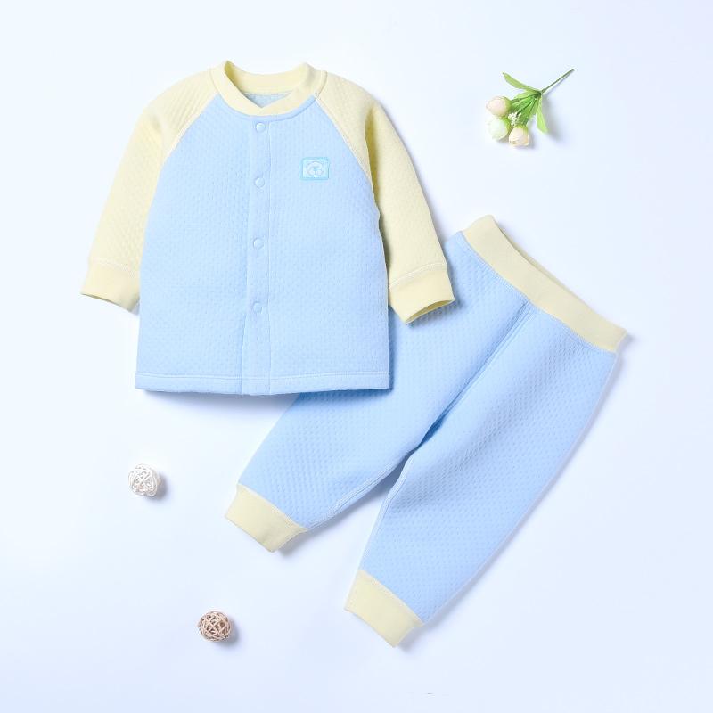 婴儿保暖内衣套装加厚0-1-3岁纯棉新生儿衣服宝宝秋衣秋裤夹棉冬