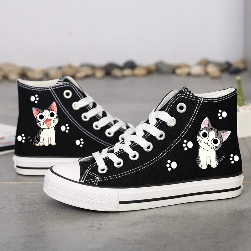 Spring and autumn shoes for female students, Korean flat bottom canvas shoes for all kinds of high top board shoes for female students, new graffiti cloth shoes for spring