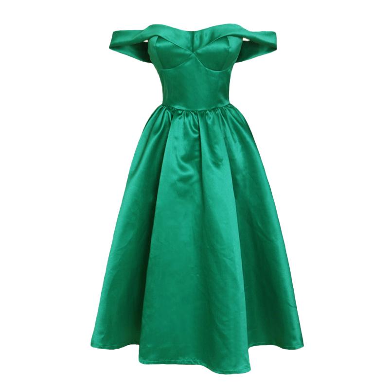 法式复古优雅春女装性感经典一字肩低胸祖母绿绸缎抹胸蓬蓬连衣裙