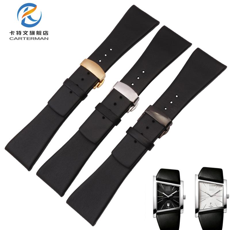 代用CK表带K0Q21107/K0Q21120牛皮表带手表带28MM男KOQ211 蝴蝶扣