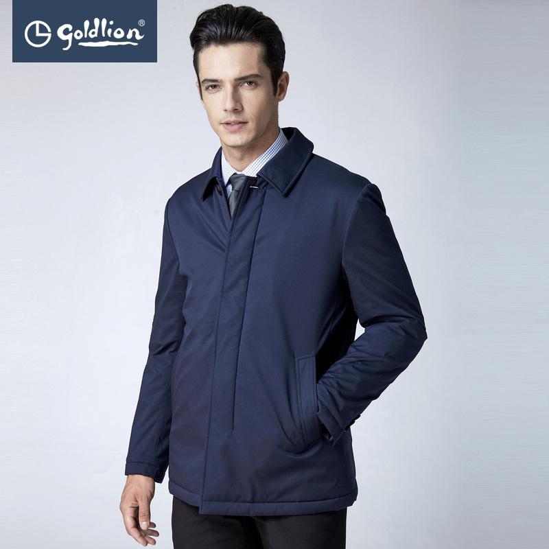 金利来男士防风保暖厚实抗皱肌理面料翻领棉服外套