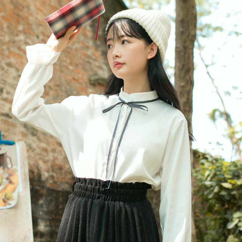 8599#【定价不低于49】【现货实拍】系带衬衫文艺 OL 美