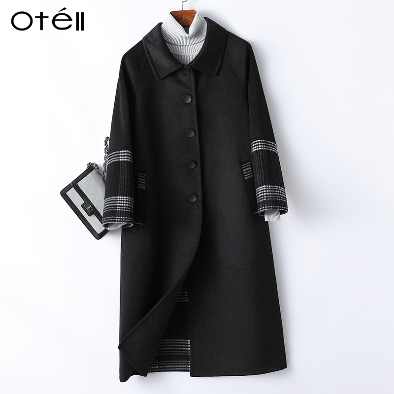 Double face woolen coat womens middle long European station 2020 new suit collar single breasted woolen coat
