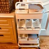 宜家置物架小推车可移动落地婴儿用品收纳神器厨房铁艺储物架带轮