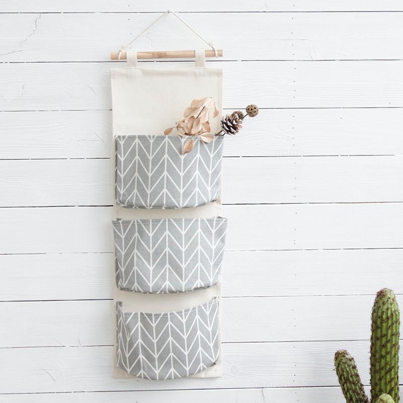 聚可爱 帆布多层挂袋杂物收纳袋门后装饰布艺收纳袋墙挂式收纳袋
