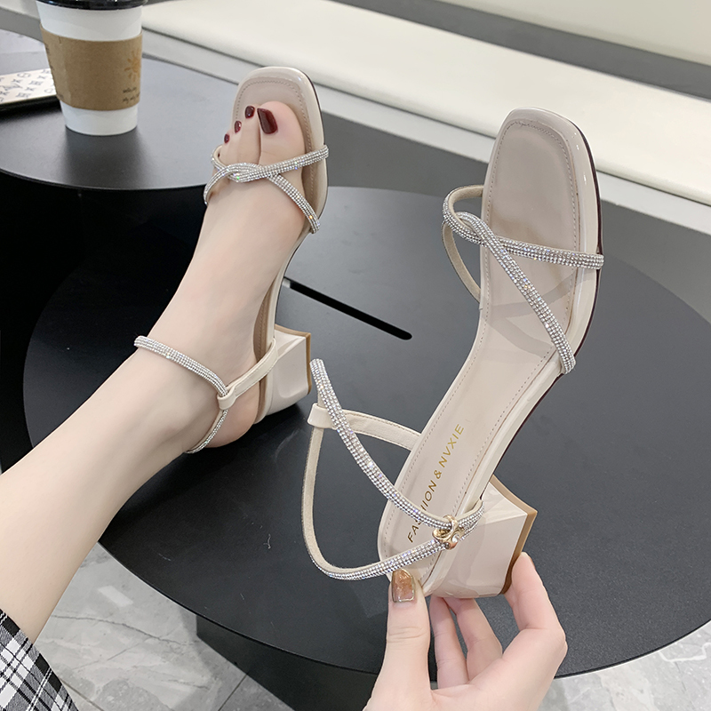 Sandals, fairies, summer 2020 new all in one buckle Roman shoes, rhinestones, thick heels, 5cm