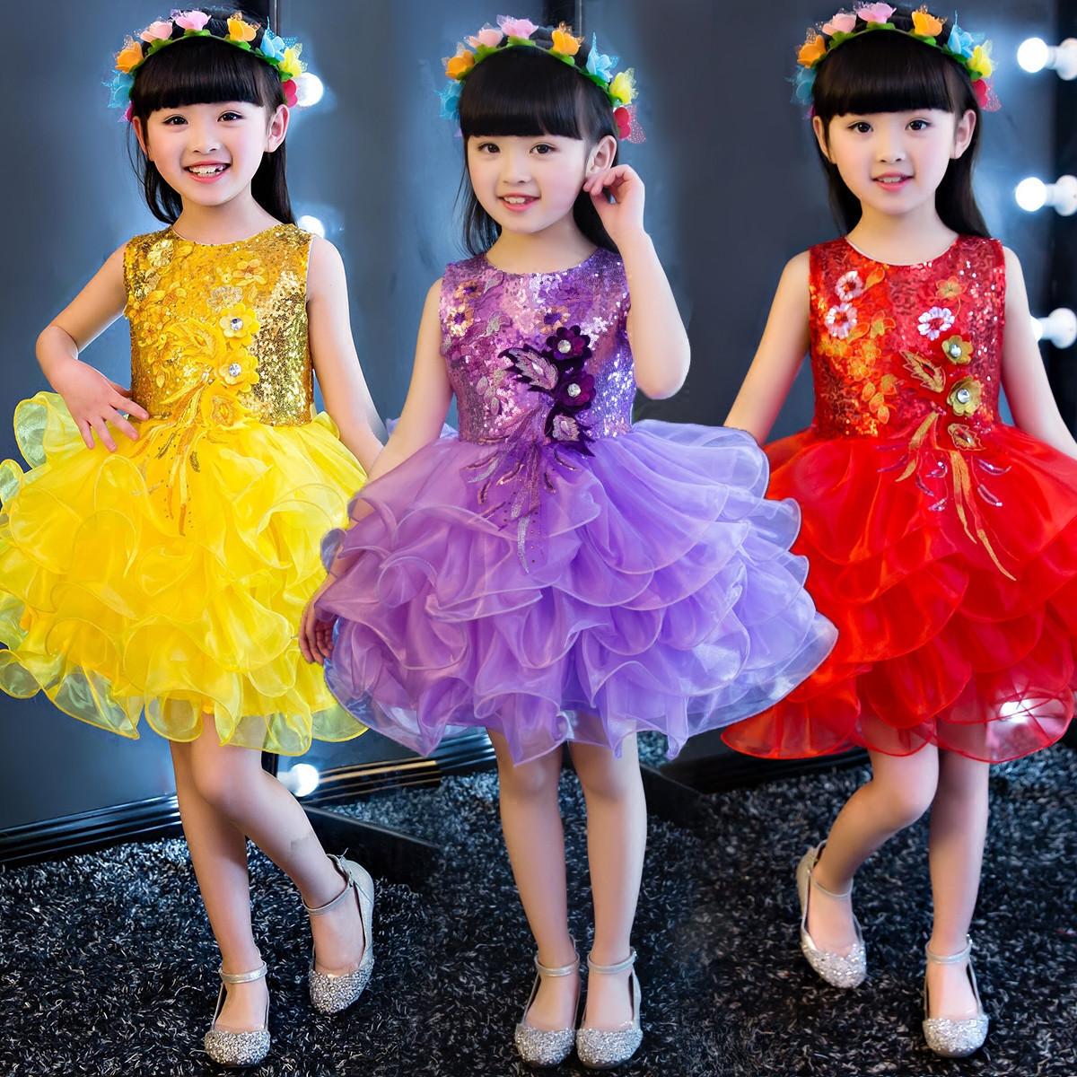 六一儿童蓬蓬裙表演服装亮片公主裙
