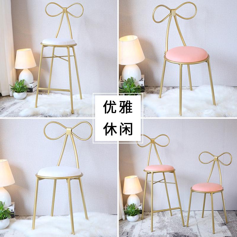 北欧风网红椅简约餐椅懒人吧台凳子家用书桌梳妆椅铁艺蝴蝶结椅子