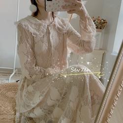 SEV7EN仙女风娃娃领复古宽松高腰磨毛蕾丝中长款连衣裙秋冬新款女