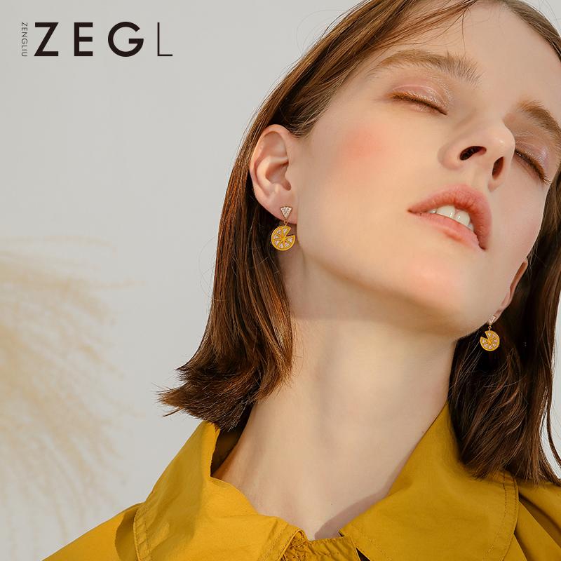 ZEGL柠檬耳环女2020新款潮耳钉韩国网红耳坠耳夹无耳洞女银针耳饰图片