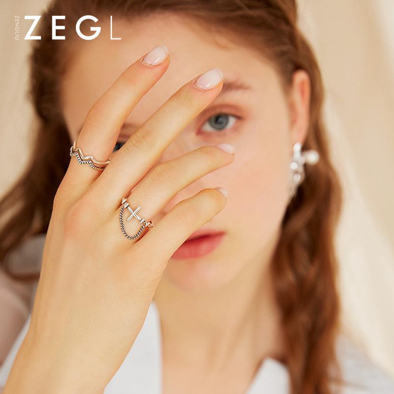 ZENGLIU925银链条戒指女时尚个性复古小众设计日式轻奢网红食指戒热销35件限时2件3折