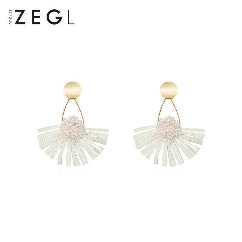 热销170件五折促销zengliu白色扇形流苏气质夏天耳环