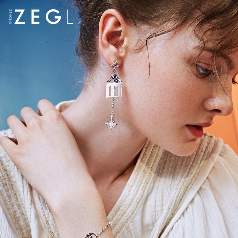 ZEGL设计师巴洛克耳环女气质长耳坠韩国欧美个性潮人复古耳钉耳饰