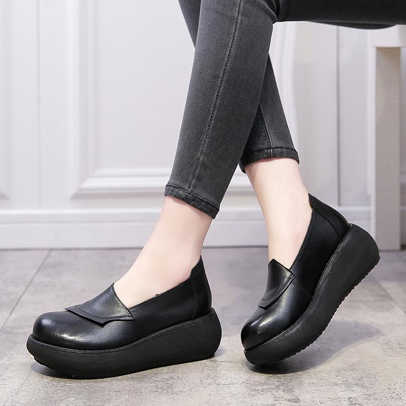 真皮坡跟厚底2021春秋新款松糕单鞋