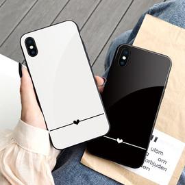 黑白色苹果x手机壳玻璃镜面iPhone 8plus情侣xr保护套11简约xs max冷淡风6splus少女7p网红同款11pro max潮牌图片