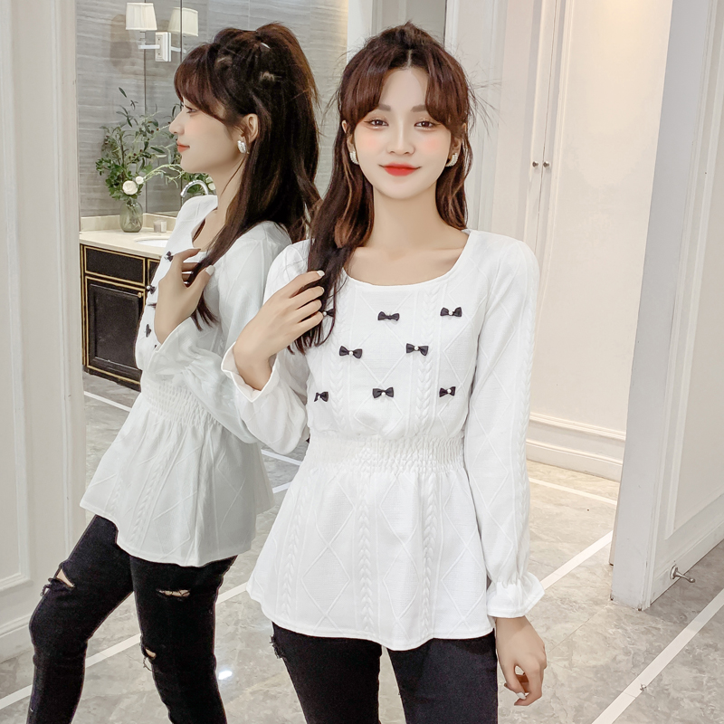 Real shot ? in stock ? Korean version foreign style close waist Ruffle long sleeve shirt versatile pleated solid color trumpet sleeve top