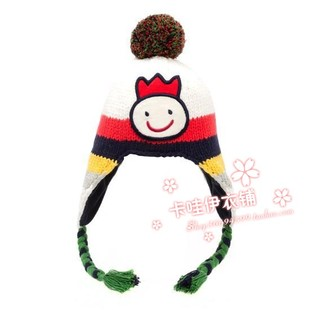 2012 Korea new winter allolugh male baby boys knit wool cap ear cap sleeve head cap rainbow
