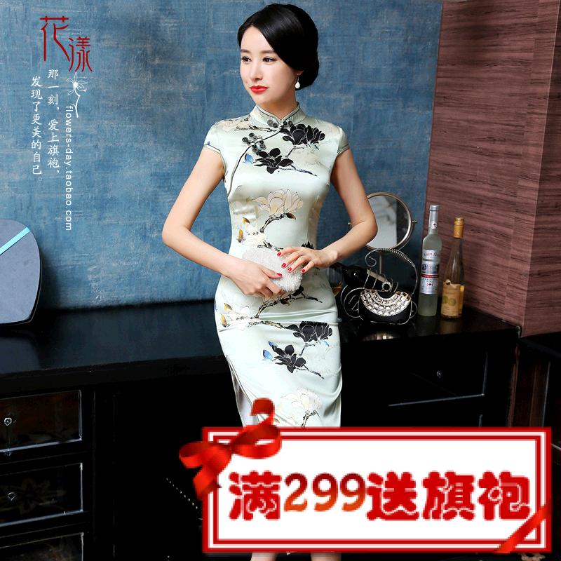 高档桑蚕丝修身长旗袍 复古时尚100%真丝影视旗袍裙礼服 A015浅绿