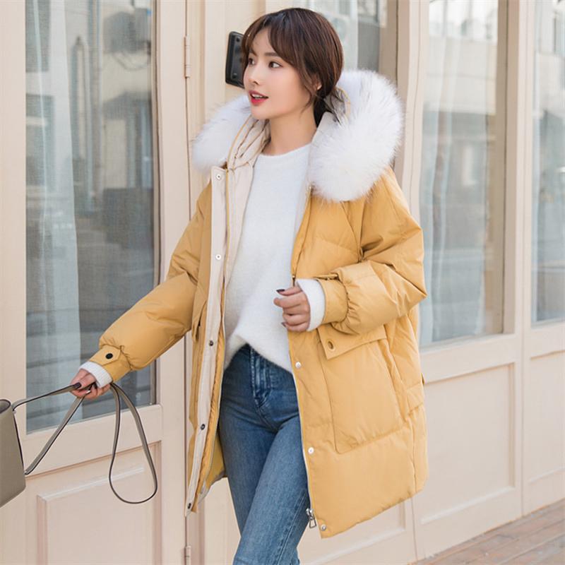 羽绒服女中长款韩版2019新爆款大毛领加厚显瘦时尚白鸭绒冬外套潮