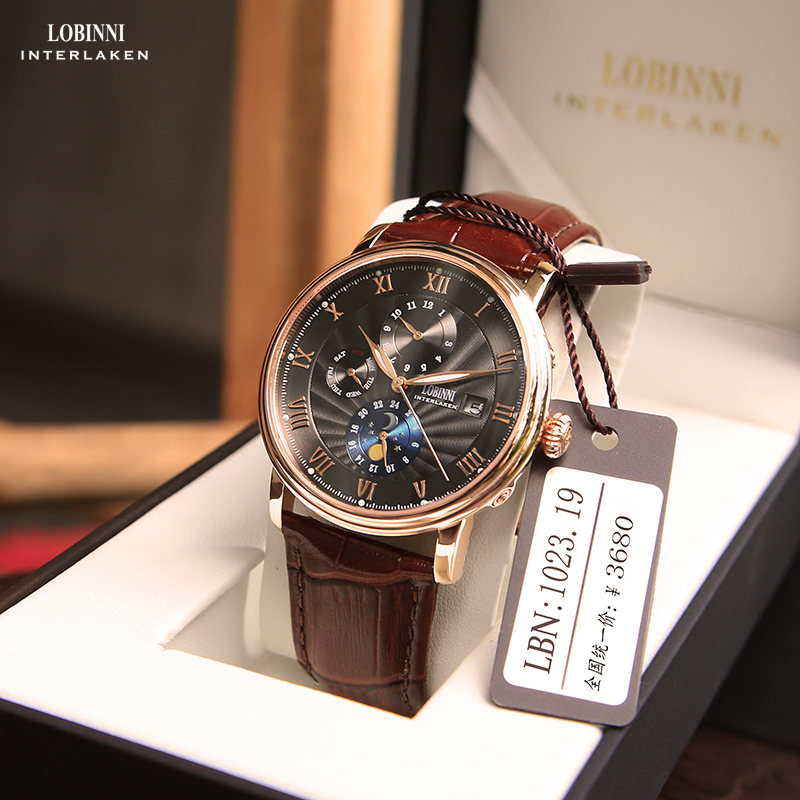 Lobinni Robini Counter Genuine Men's Watches Men's Machinery Watch Fully Automatic Waterproof Leather Finished Steel Strip Men's Watches