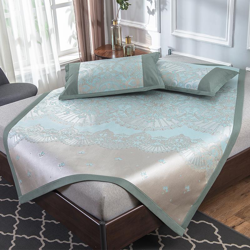 冰丝凉席三件套1.8m床夏季席子1.5米可水洗折叠夏凉席1.2空调软席