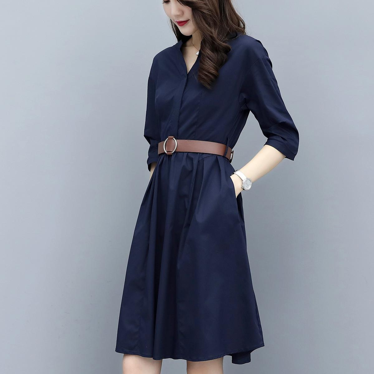 唯依◆沫系列品牌折扣女装腰带收腰显瘦七分袖长袖连衣裙3.12春