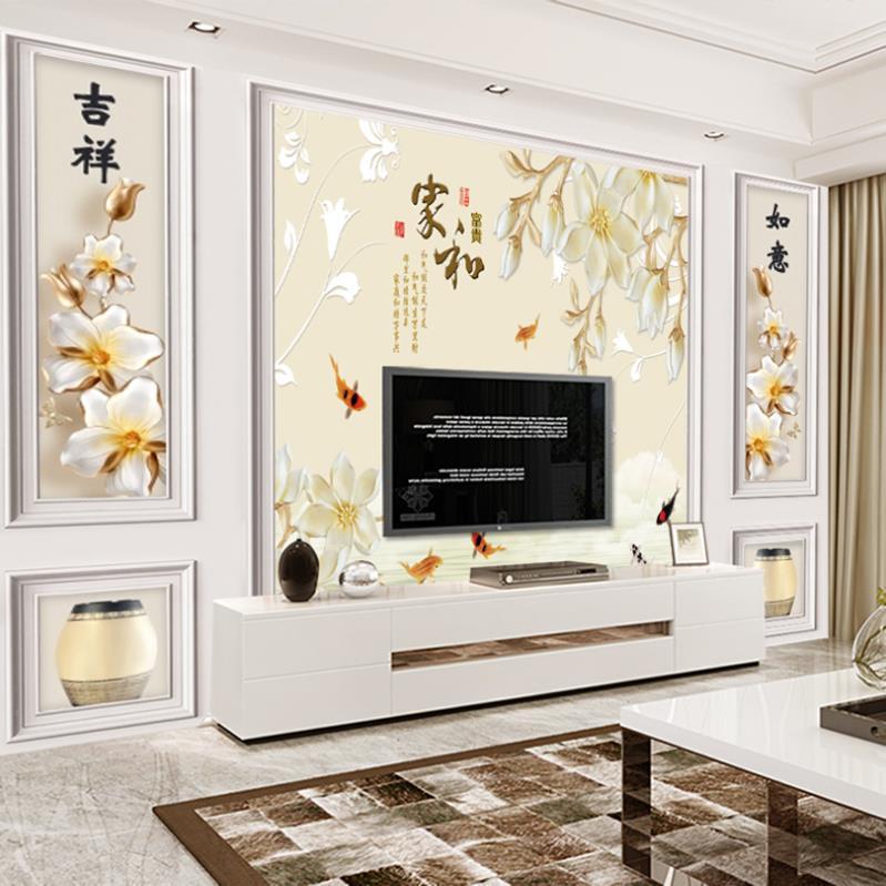 2020中式家和富贵电视背景墙壁纸家用花鸟墙纸自粘壁画花朵带边框