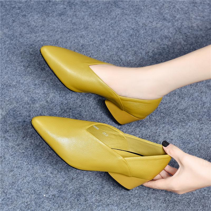 真皮网红奶奶鞋女中跟单鞋女2020春款新款晚晚鞋尖头高跟鞋女粗跟