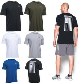 美国UA安德玛 Freedom Flag能量棉速干跑步健身运动T恤男士短袖