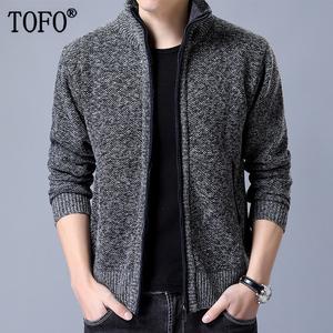 TOFO/突风秋季针织衫男士毛衣 潮流冬季韩版修身立领男装开衫外套