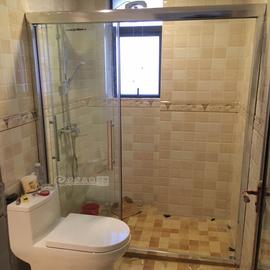 卫生间三连动浴室移门三门全活淋浴房一字形定做简易隔断淋浴房