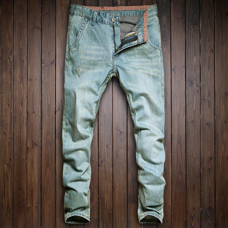 春季浅蓝色斜插口袋小直筒修身潮流男士牛仔裤复古做旧男装长裤子