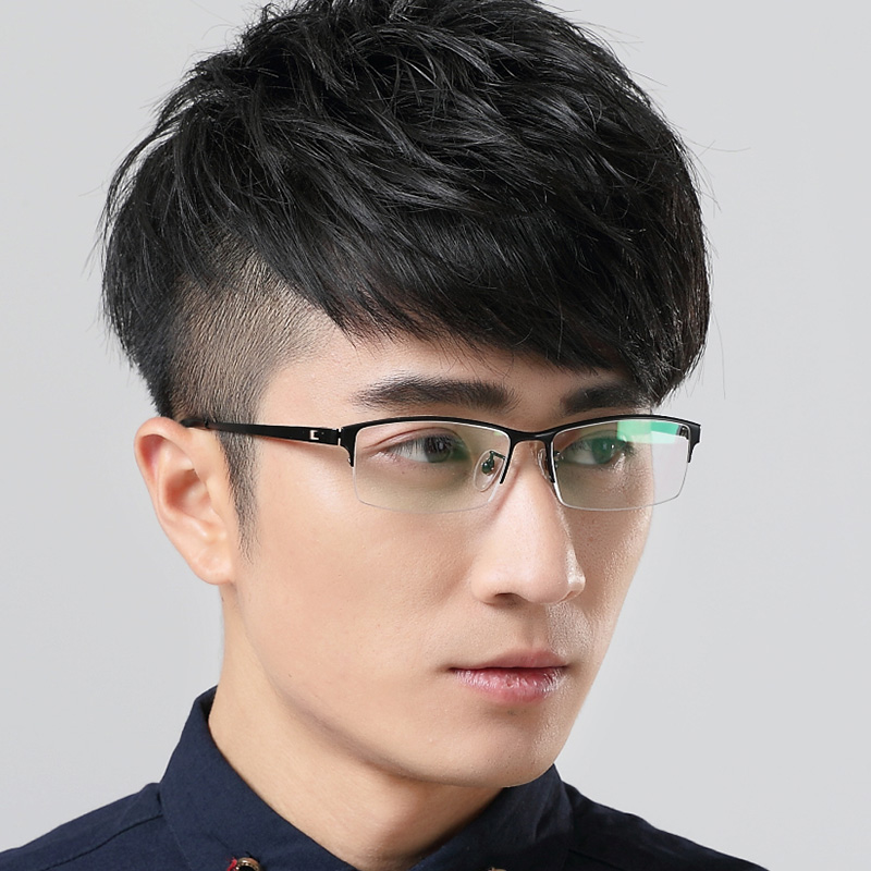 Mens glasses pure titanium half frame can be equipped with myopia astigmatism diopter classic business comfort color change anti blue light anti radiation