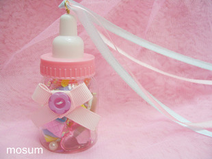 Soft sweet lolita Meng Harajuku spank dessert ribbon bow bottle zipper necklace