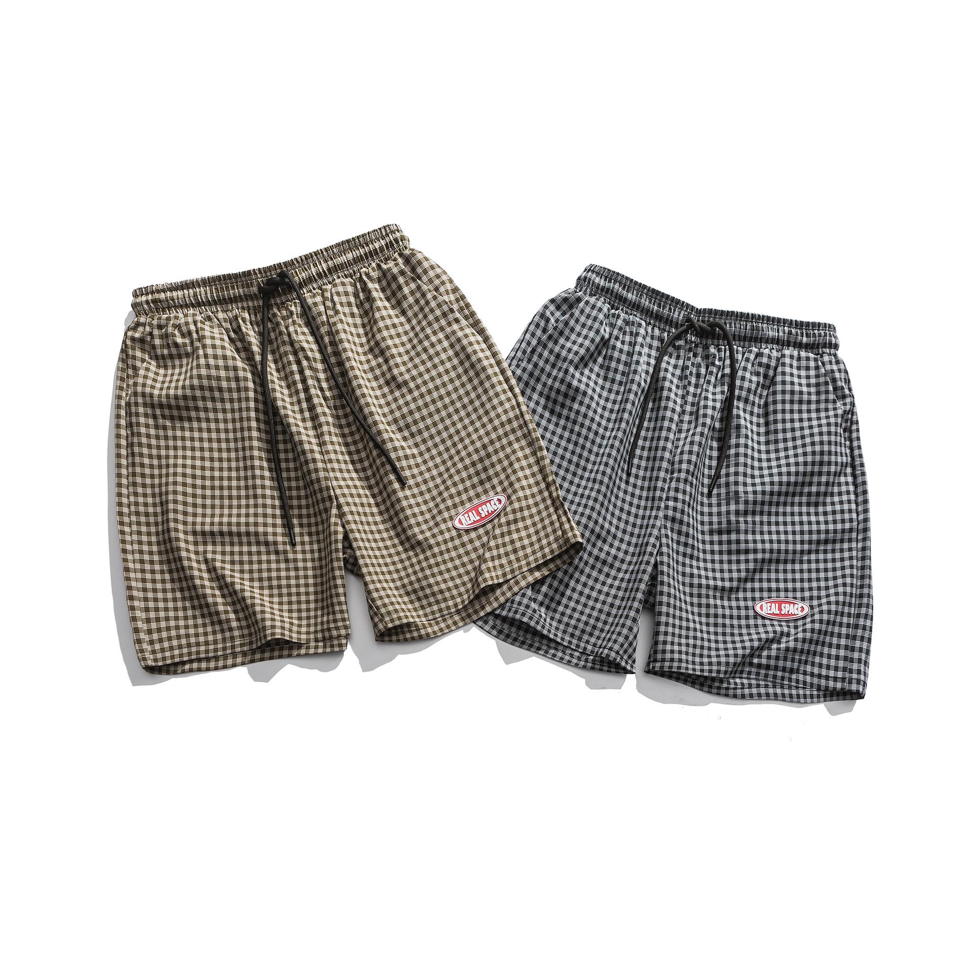夏季日系休闲格子短裤男士潮流宽松运动速干薄款沙滩裤