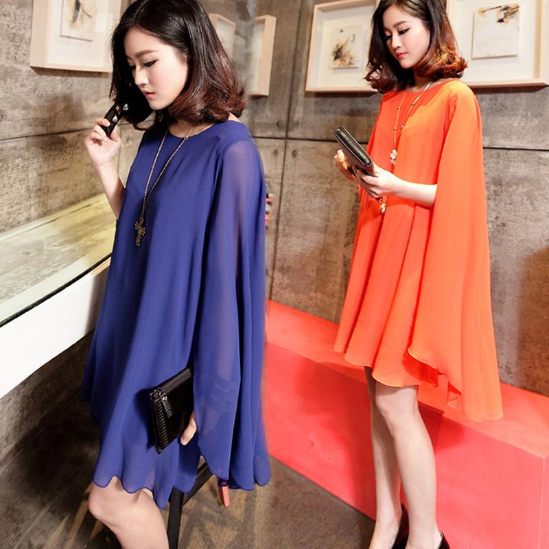宽松蝙蝠袖上衣女夏新款韩版时尚洋气假两件百搭斗篷式披风雪纺衫