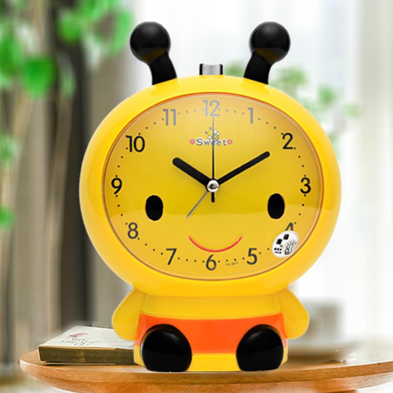 儿童闹钟学生用卡通会说话静音床头钟夜光创意个性懒人专用小闹铃