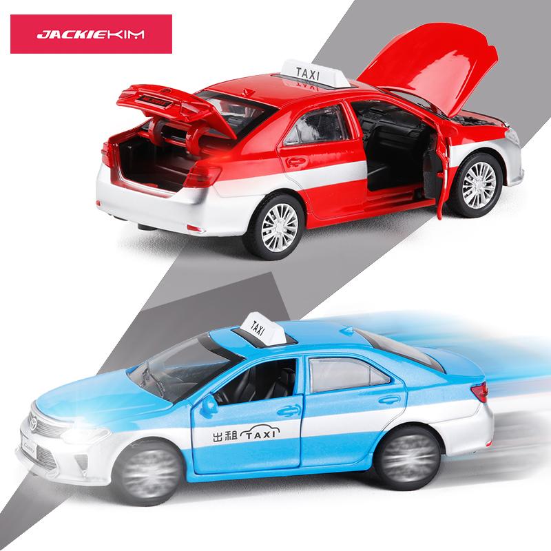 1:32凯美瑞出租车taxi的士 合金车模语音播报金属开门回力玩具车