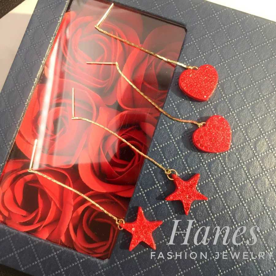 H129 thin chain red love Star Korean fashion personalized Earrings exaggerated temperament charm female Earrings Silver needle