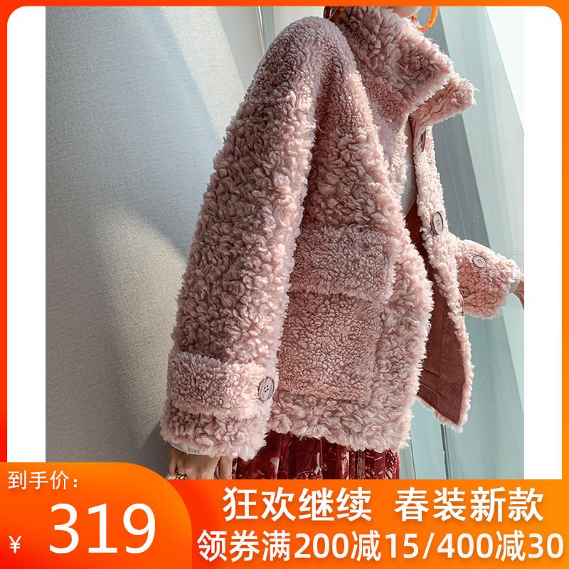 短款羊剪绒大衣女2020新款冬欧美皮毛一体短皮草卡拉卷羊羔毛外套