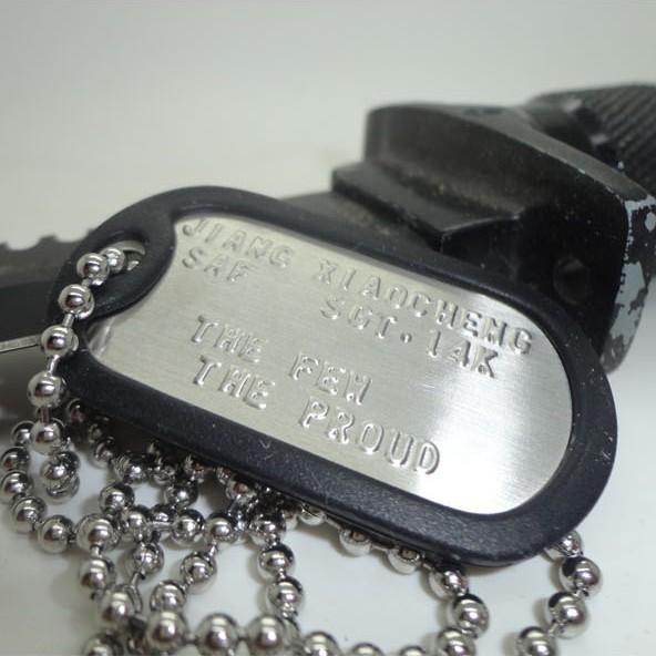 军迷美国大兵军牌项链定做男士兵牌不锈钢美军身份牌狗牌定制名字