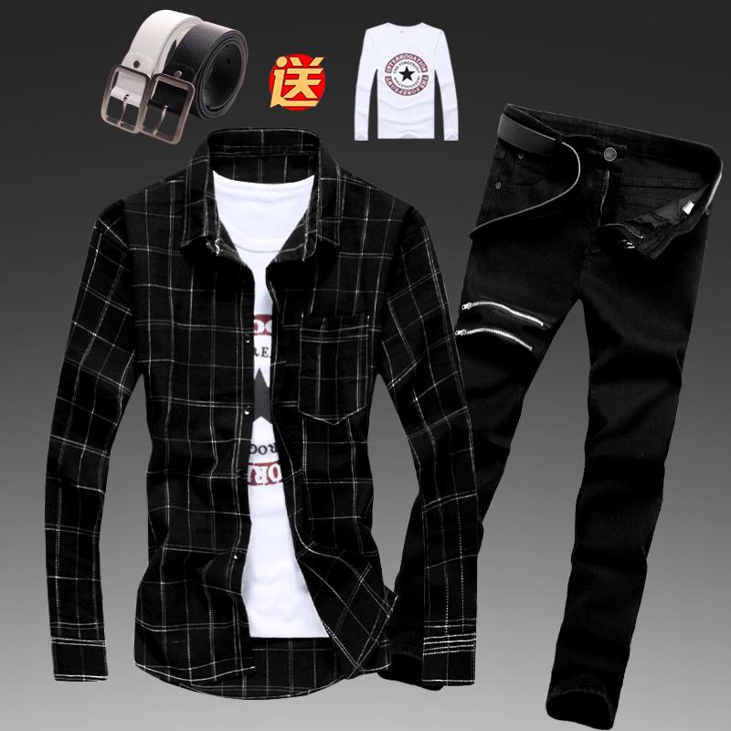 春秋季男士韩版长袖牛仔长裤衬衫