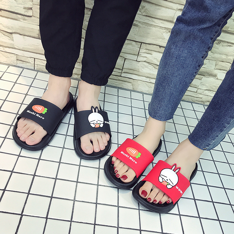 Childrens Rogue rabbit summer antiskid soft bottom sandals men and women lovers indoor home bathroom shoes a family of three