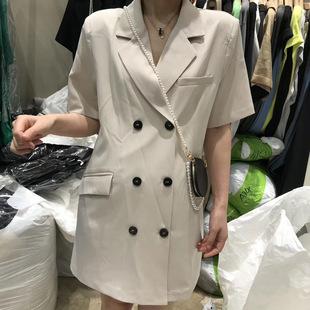 网红双排扣西服外套女 时尚 女装 小西服短袖 韩国东大门2020夏季 新款