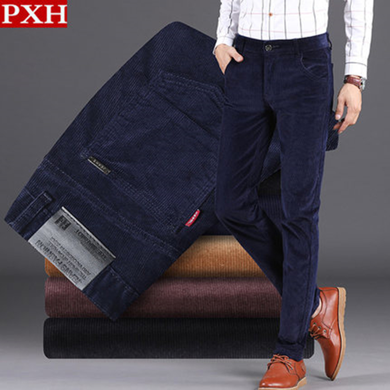 Corduroy pants mens soil autumn elastic Plush thickened mens pants autumn and winter corduroy winter pants velvet casual pants