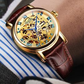 瑞士欧亚利名牌十大正品牌时尚镂空防水男表真皮带手表男士机械表