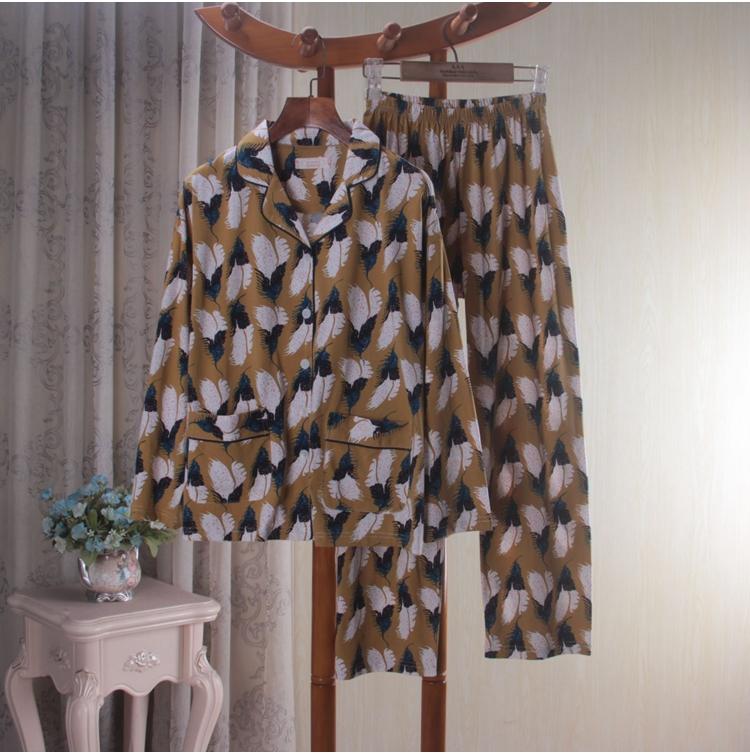 折扣秋季针织纯棉印花长袖长裤睡衣