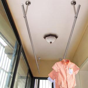 永固304不锈钢阳台晾衣杆 固定式晾衣架单杆挂凉式衣杆顶装晒衣杆