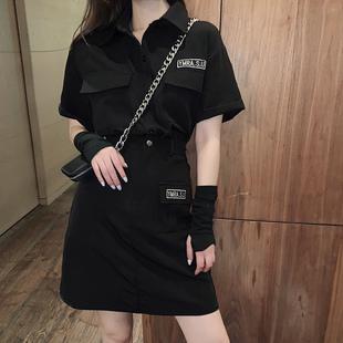 工裝裙女裝潮酷女孩穿搭風格街頭套裝學院風帥氣黑暗系半身短裙女